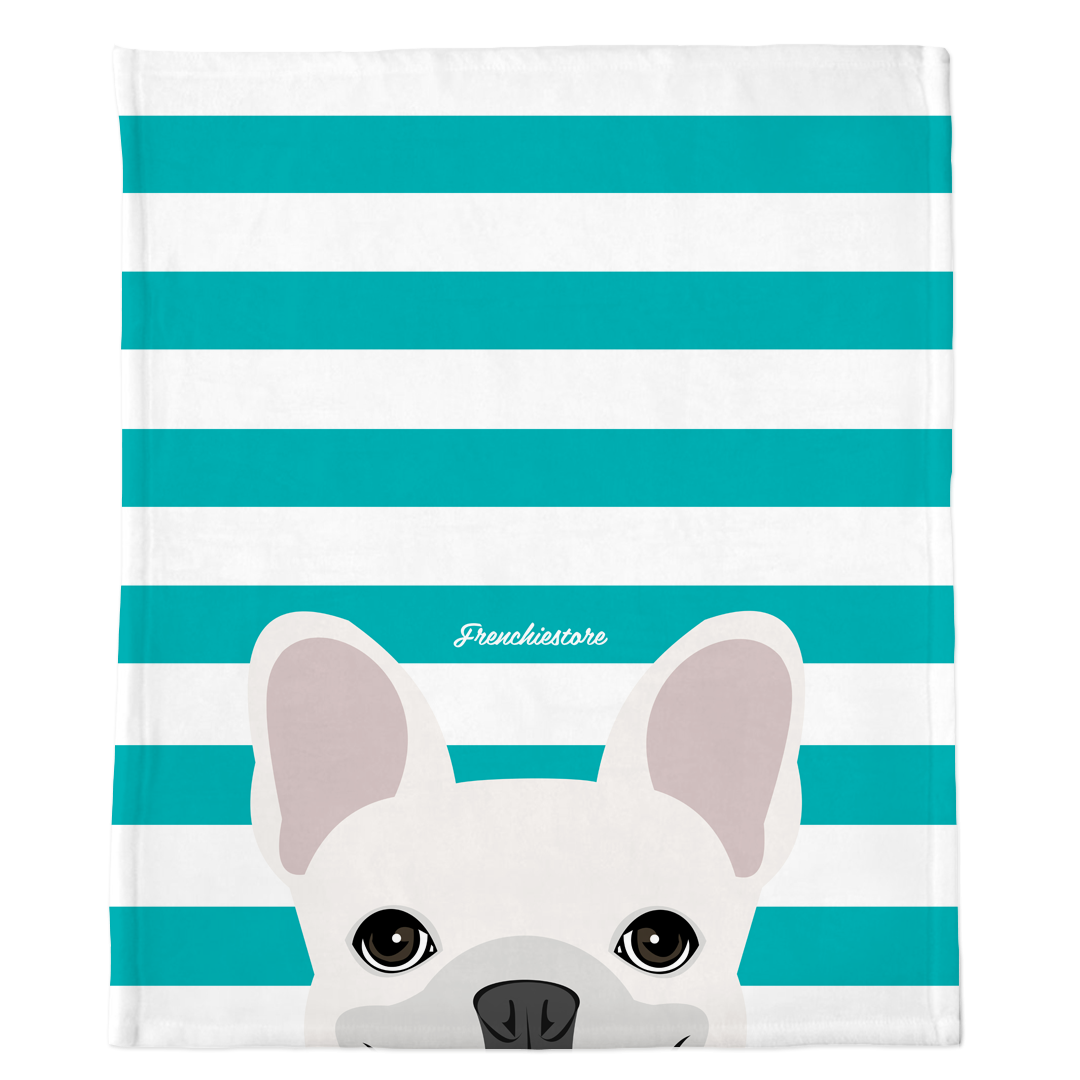White French Bulldog on Teal Stripes | Frenchie Blanket