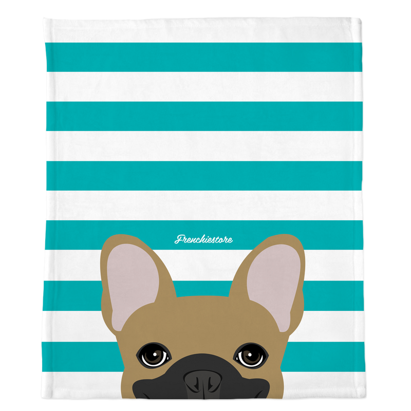 Masked Fawn French Bulldog on Teal Stripes | Frenchie Blanket