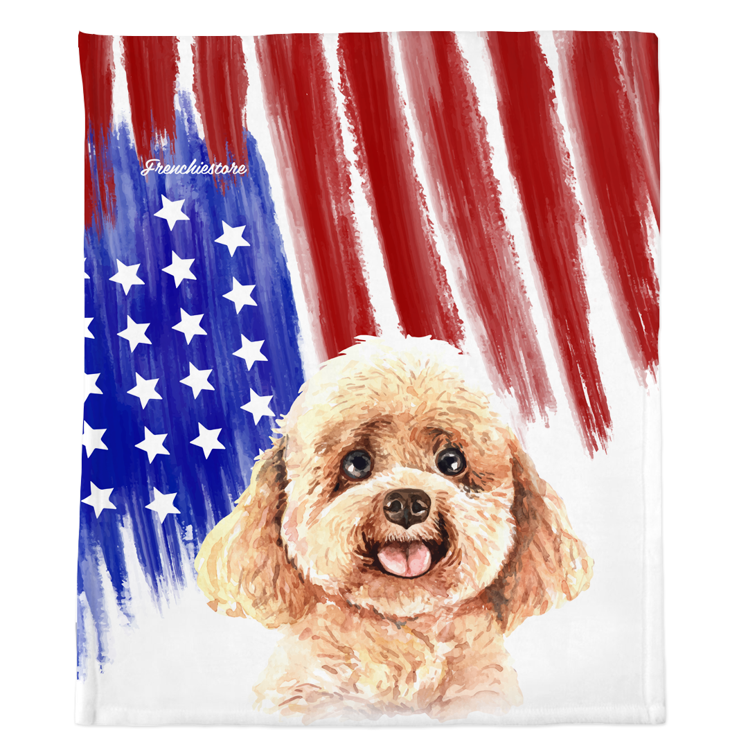 Patriotic Toy Poodle Blanket | American dog in Watercolors