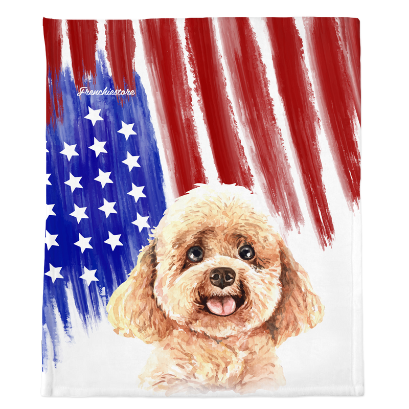 Плед Patriotic Toy Poodle | Американская собака в акварелях