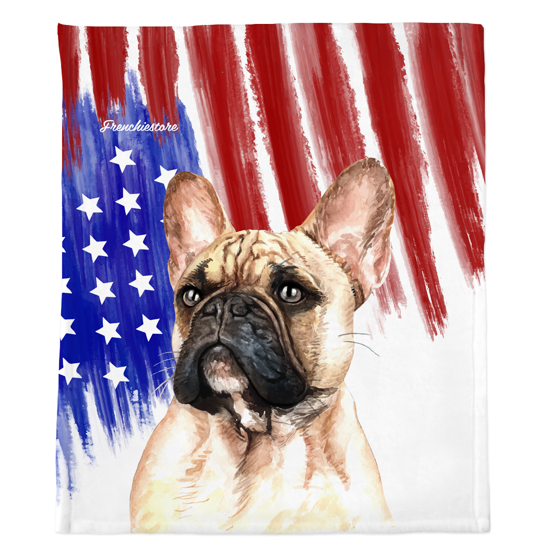 Patriotic French Bulldog Blanket | American dog in Watercolors