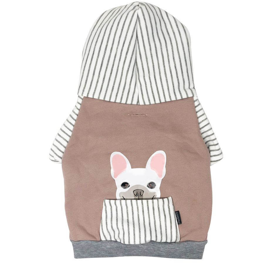 Sweat à capuche Bulldog français en gris | Vêtements Frenchie | Chien Frenchie blanc