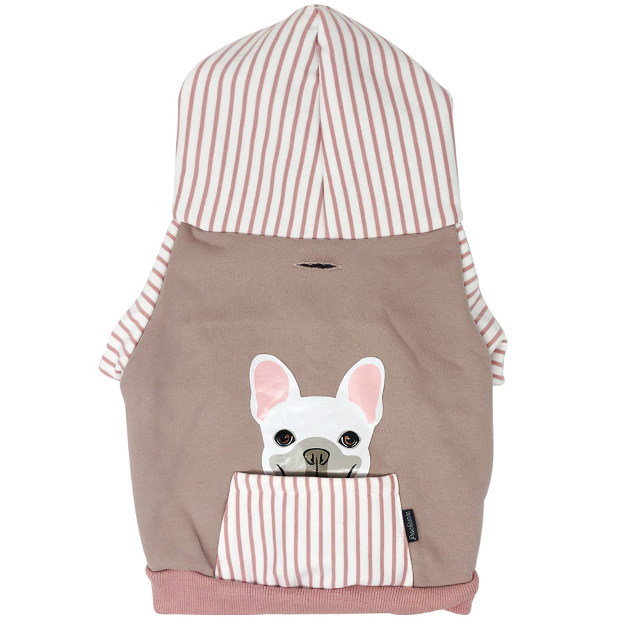French Bulldog hoodie in pink | Frenchie Clothing | White Frenchie dog, Frenchie Dog, French Bulldog pet products