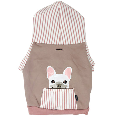 French Bulldog hoodie in pink | Frenchie Clothing | White Frenchie dog