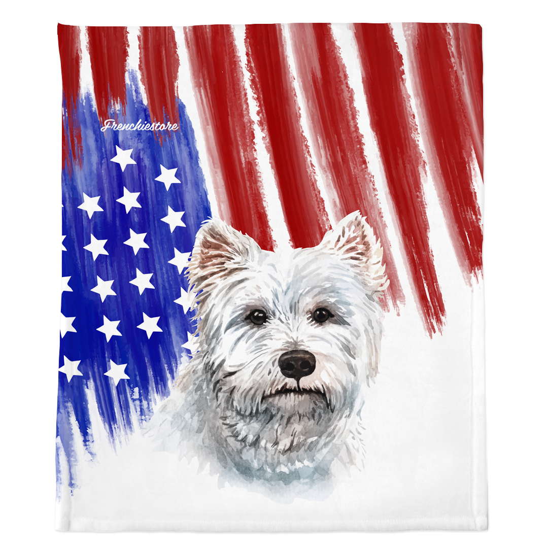 Patriotische West Highland White Terrier Decke | Amerikanischer Hund in Aquarellen