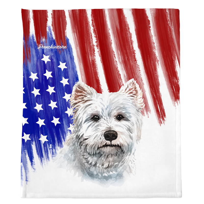 Patriotic West Highland White Terrier Blanket | American dog in Watercolors