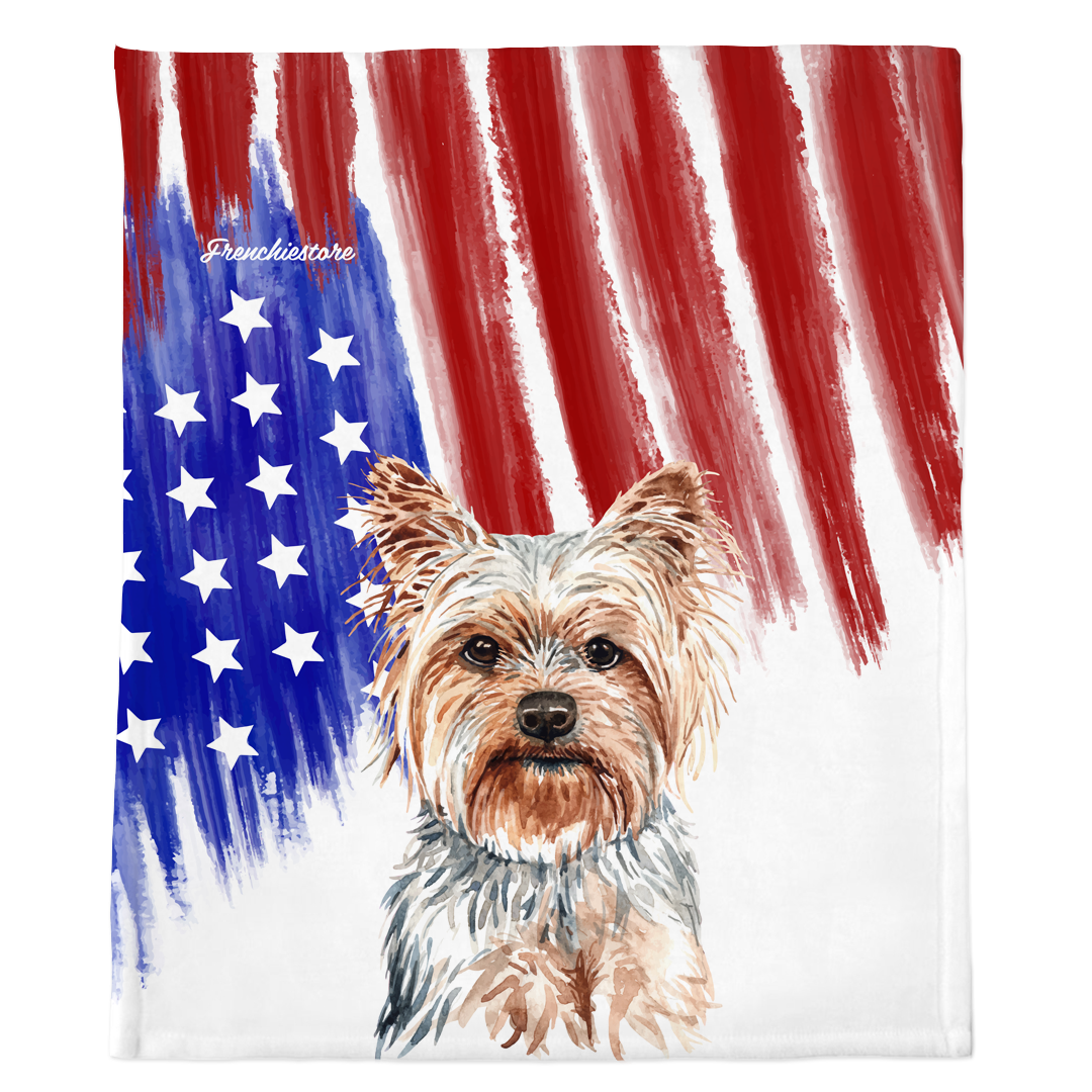 Patriotic Yorkshire Terrier Blanket | American dog in Watercolors