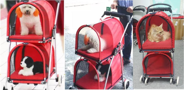 2 Tier Double Cage Pet Strollers Multiple Pets