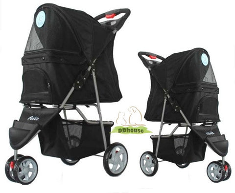 3 wheeler Black Color Pet Stroller pram
