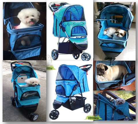 Azure Blue Tripled 3 Wheeler Pet Pram