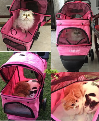 Pinkish 3 Wheel Pet Pram - DDhouse