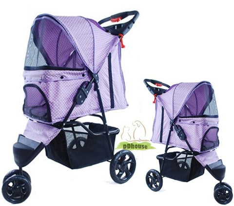 Purple Dot 3 Wheel Pet Stroller