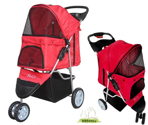 3 wheeler Red Pet Stroller pram