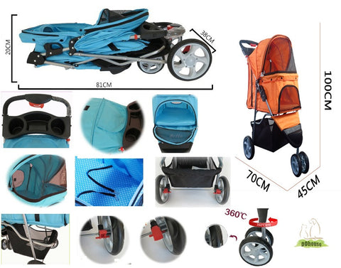 3 wheeler pet stroller