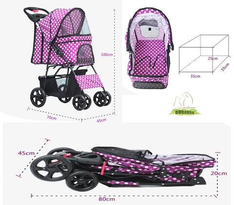 dimension for 4 wheel pet pram