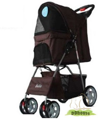 4 Wheel Brown Color Pet Stroller