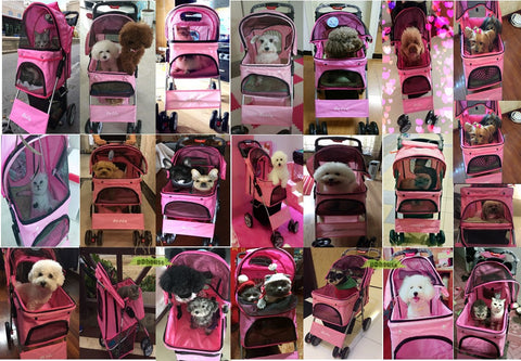 Pink Colored 4 Wheel Pet Stroller - DDhouse