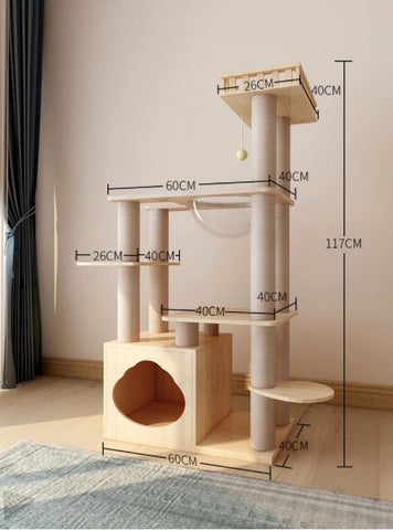 Elegant Wooden Modern Cat Tree Cat Condo Multi-Level Towers Cat Activity Tower with Scratching Posts