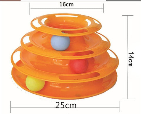 3 Tier Cat Toy Tower of Tracks