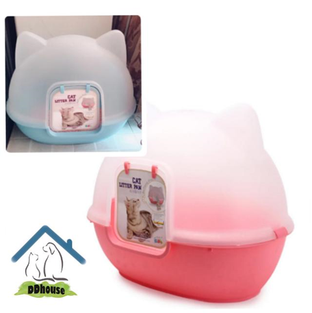 Adorable Fully Enclosed Cat Face Cat Litter Tray Ddhouse