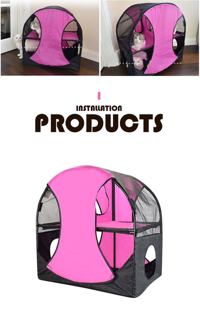 Cat Play Tent WHEEL OF FUN Cat Jumping tent Climbing Frame Jumping Platform Durable Tent Double-decker Rack Cat tent cat furniture Cat Tree Cat Towers Cat climbers SportPet Wheel