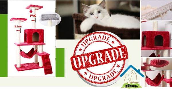Wine Red Premium Cat Condos PVC Upgrade Cat Tree