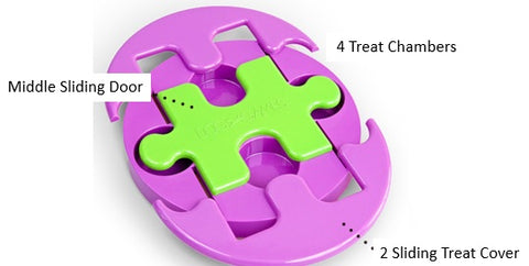 Outward Hound Jigsaw Glider Treat Puzzle With 4 Treat Chambers Kyjen Jigsaw Glider IQ Puzzle Dog Toy Singapore