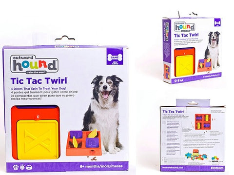Kyjen Four Chambers Plastic Tic-Tac-Twirl Treat-Hiding Puzzle Toy Pet Dog Cat Food Slow Feeder Bowl Treat Game Singapore TIC TAC Twirl
