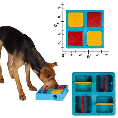 Outward Hound TIC TAC Twirl Dog Toy Kyjen Tic Tac Twirl IQ Game Puzzle Kyjen Four Chambers Plastic Tic-Tac-Twirl Treat-Hiding Puzzle Toy Pet Dog Cat Food Slow Feeder Bowl Treat Game