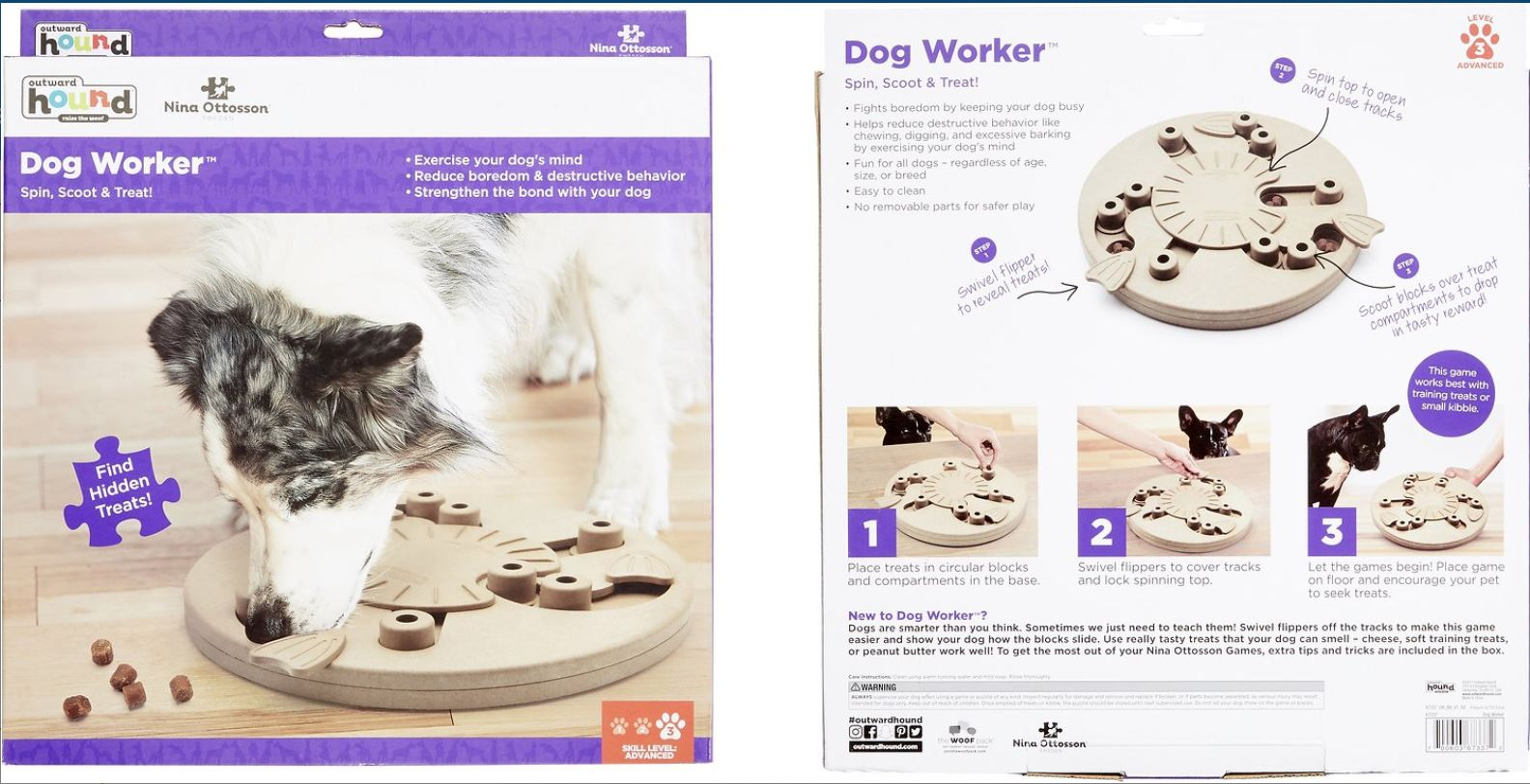 Dog Worker 9 Rings Nina Ottosson by Outward Hound Dog Worker Interactive IQ Puzzle Dog Slow Feeding Toy