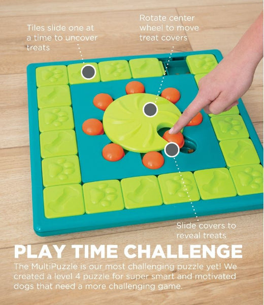 Dog play tie challenge with multipuzzle dog game