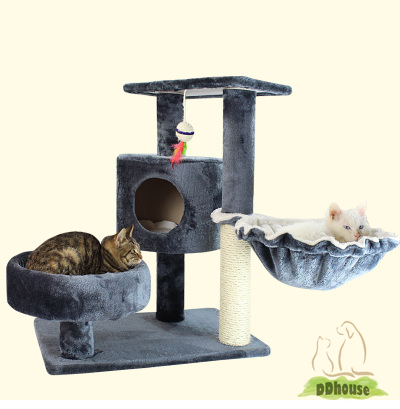 Dary Grey Medium Size Cat tree with side hammock bowl