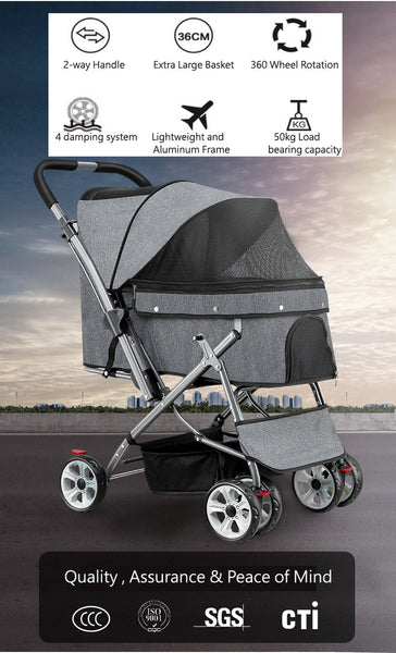 Best Quality Reversible Dual view Pet stroller singapore