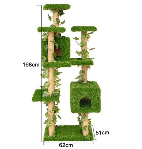 Tall 8 - tier multi level cat trees with green vine