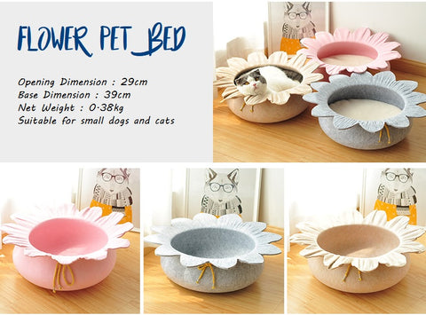 New Design  Flower Shape Wool Felt Cat Cave Pet Bed