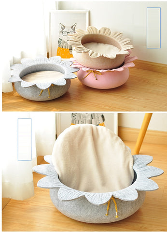 New Design Wholesale Flower Shape Wool Felt Cat Cave Pet Bed Singapore