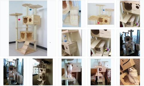 Singapore Good Quality Solid wood Cat Tree Wooden Cat Condos Natural wood Cat Climbers Cat Furnitures Solid Wood Cat Towers Free delivery
