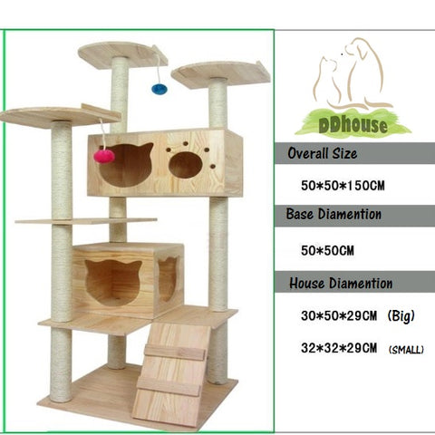 Singapore Good Quality Solid wood Cat Tree Wooden Cat Condos Natural wood Cat Climbers Cat Furnitures Cat Towers Free delivery