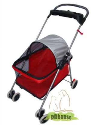 red color light weight 4 wheel pet stroller