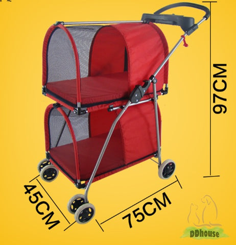 2 Tier 4 wheel comfortable pet pram Pet strollers Dog Carriers Cat Cage Multiple Pets Trolley 2 Tier Pet Cage Pet Prams