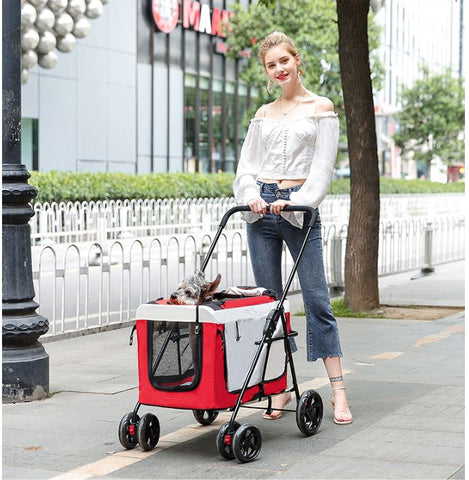 Foldable light Weight Pet Stroller with Detachable carriage
