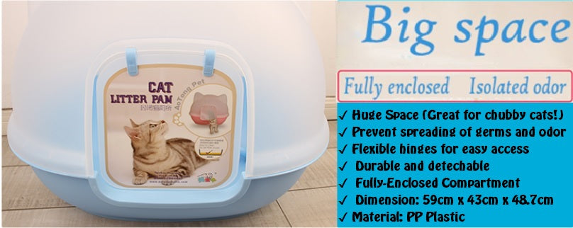 Fully Closed Anti-splash Cat Litter Box Eco-friendly PP Plastic Breathable Cat Toilet Big Space Pet Cat Kitten