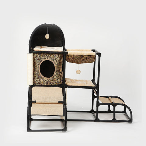 The Kitty City Castle will make your favorite feline feel like royalty. This cat tree is sure to keep your cat entertained with the fun tube, tunnels and colorful dangling toys. When they're not running around tapping into their hunting instinct, they'll still be using this cat tower for the cozy bed on top.