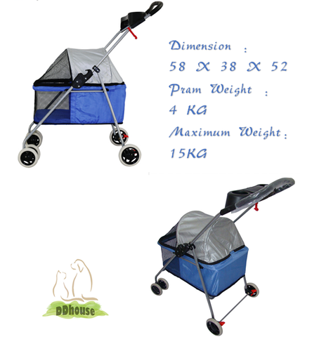 Light blue portable pram for dogs and cats