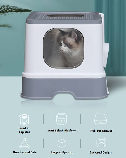 Give your pet a quiet and clean place to do their business with the Enclosed Hooded Cat Litter Box