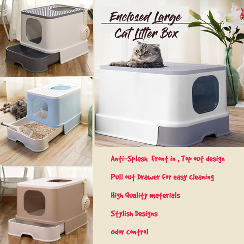 Cat Enclosed Litter Box/Extra Large/Cat Full Enclosed Flip / Front Entry-Top Exit / Pull out drawer Tray Design