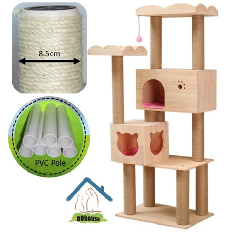 PVC sisal Rope Pole Cat Tree Solid Wood Cat Tower
