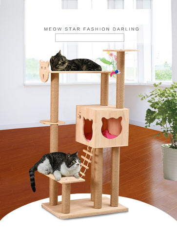 Cat Face Unique Design Medium Size PVC Pole Solid Wood Cat Tree