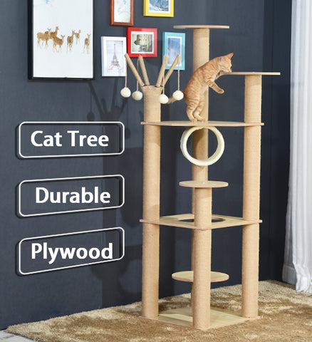 Furniture Wood Cat Tree with Hanging balls