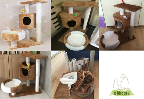 DDhouse Singapore Online Pet Supplies - Brown-White Medium Cat Tree